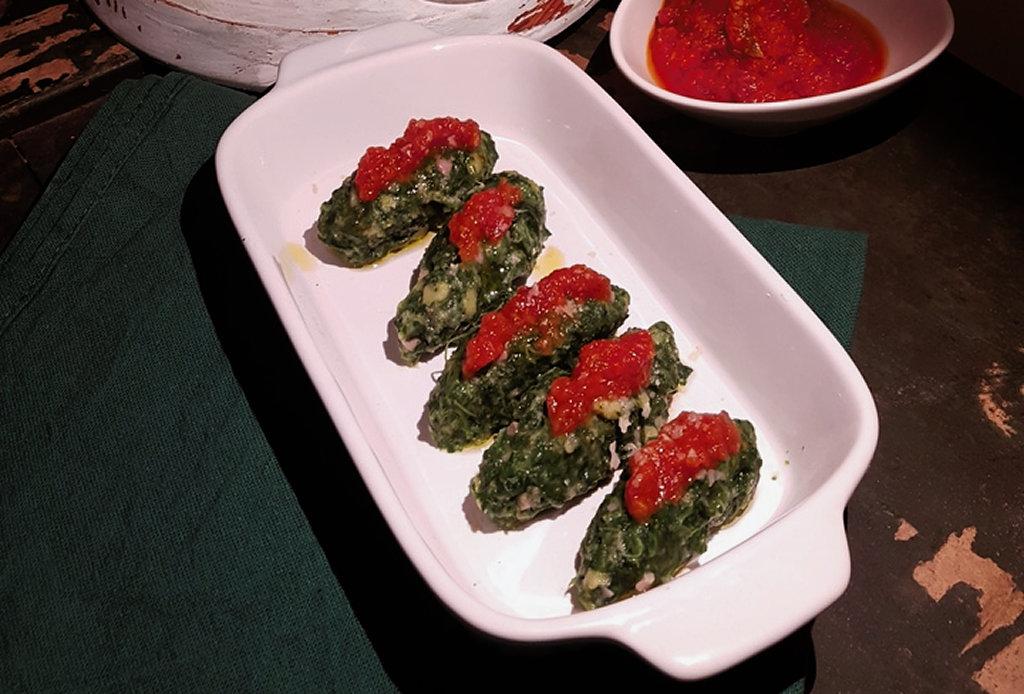 quenelle spinaci e prosciutto