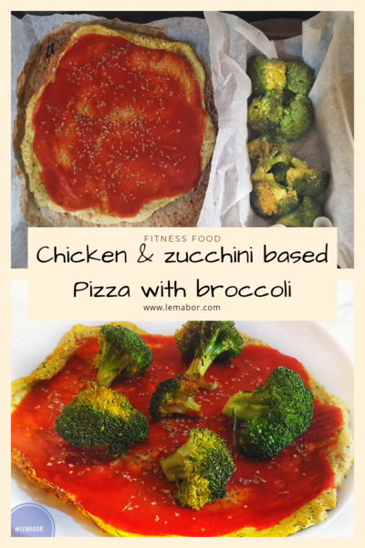 cHIcKEN and zucchini based pizza with broccoli