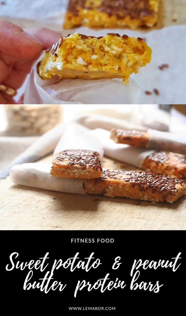 Sweet potato and peanut butter protein bars, fitnees food