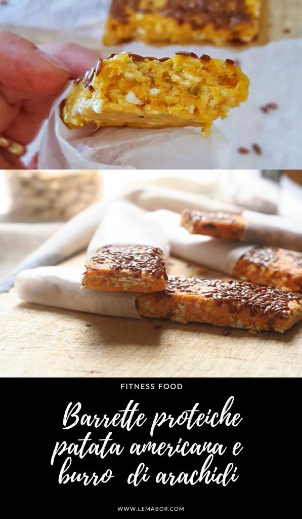 Barrette proteiche di patate americane e burro di arachidi