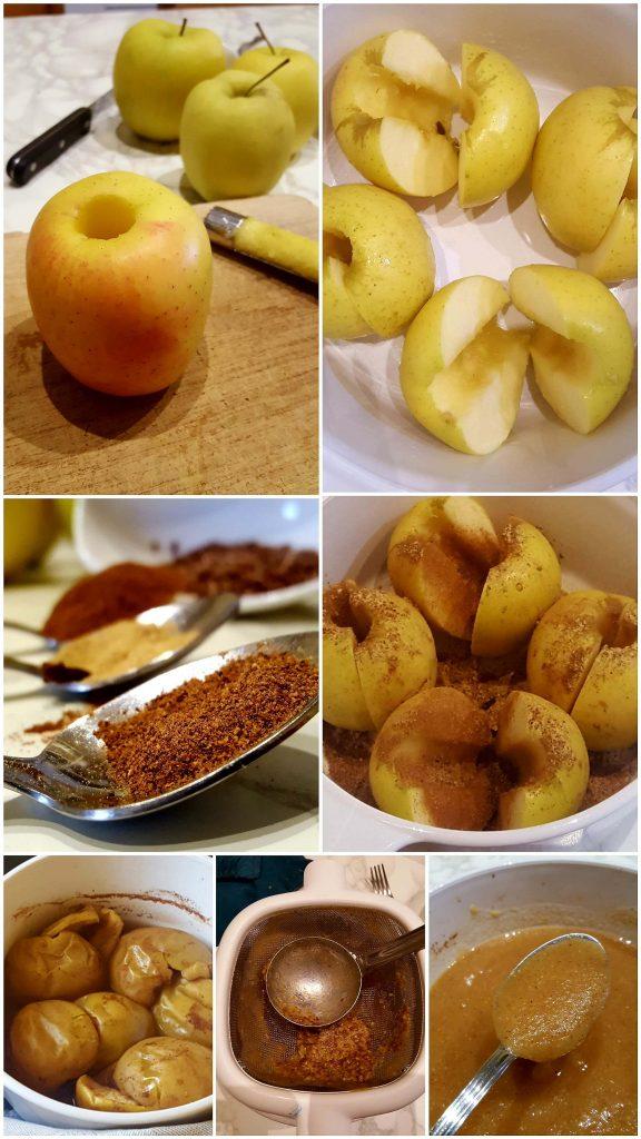 vellutata di mele procedimento collage immagini
