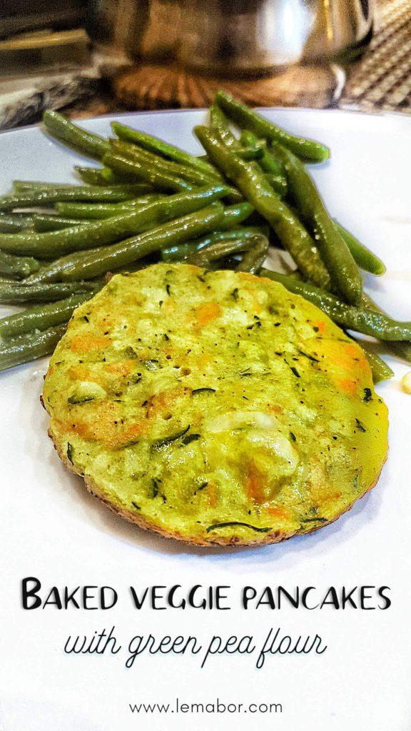 baked veggie pancakes with green pea flour