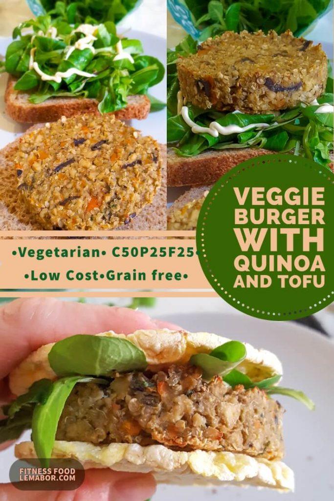 veggie quinoa burger with aubergine