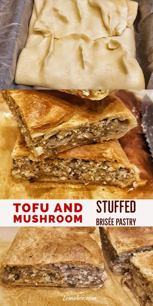 tofu and mushroom brisee pastry