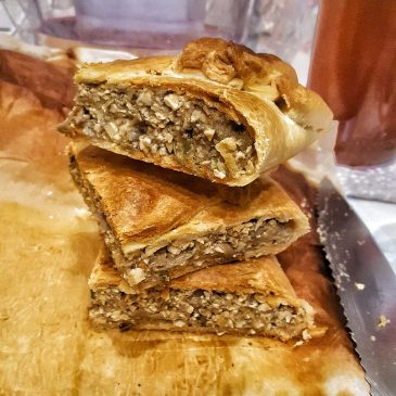 Tofu and mushroom stuffed brisée pastry – Short crust pastry