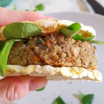 Quinoa veggie burger with tofu and aubergine